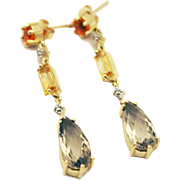 Natural Fire Opal, Citrine, Green Amethyst and Diamond Earrings