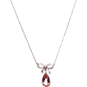 Custom-made Diamond and Morganite Pendant Chain Necklace 14KT White Gold