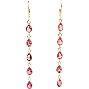 13CT Natural Rubellite Pink Tourmaline Shoulder Duster Earrings 18KT Gold
