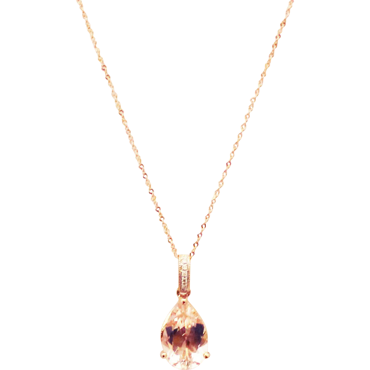 Rose Gold Morganite And Diamond Pendant Necklace