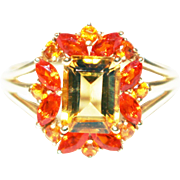 Natural Citrine and Fire Opal Ring in 14KT Gold
