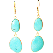 22CT Natural Sleeping Beauty Turquoise Earrings Hand Bezel Set in 18KT Gold