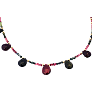Natural Faceted Gem Quality 80CT Multi-Color Watermelon Tourmaline Necklace 18KT Yellow Gold