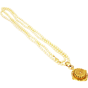 One of a Kind Collectible 14KT Gold Diamond Vintage Pocket Pendant watch with Akoya Pearl Necklace
