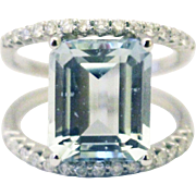 Natural Aquamarine and Diamond Ring in 14KT White Gold