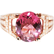 Regal Natural Rubellite Pink Tourmaline and Diamond Ring in 14KT Rose Gold