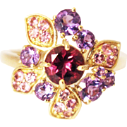 Pink Tourmaline, Rubellite and Amethyst Ring in 14KT Yellow Gold