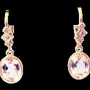 5CT Natural Pink Morganite Earrings Hand Bezel Set in 14KT Gold