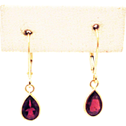 2CT Natural Rubellite Pink Tourmaline Earrings 14KT Gold