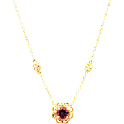14kt Gold 1CT Natural Rubellite Pink Tourmaline and Diamond Necklace