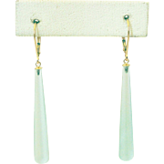 20CT Natural Sea foam Green Chalcedony Earrings Set in 14KT Gold