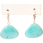 24CT Natural Sleeping Beauty Turquoise and Diamond Earrings Hand Bezel Set in 14KT White Gold