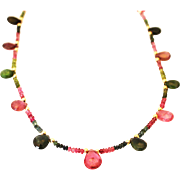 Natural Faceted Gem Quality 70CT Multi-Color Watermelon Tourmaline Necklace 18KT Yellow Gold