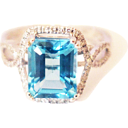 4 CT Natural Swiss Blue Topaz and Diamond Ring in 14KT White Gold
