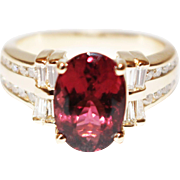 Regal Natural Rubellite Raspberry Pink Tourmaline and Diamond Ring in 14KT Yellow Gold
