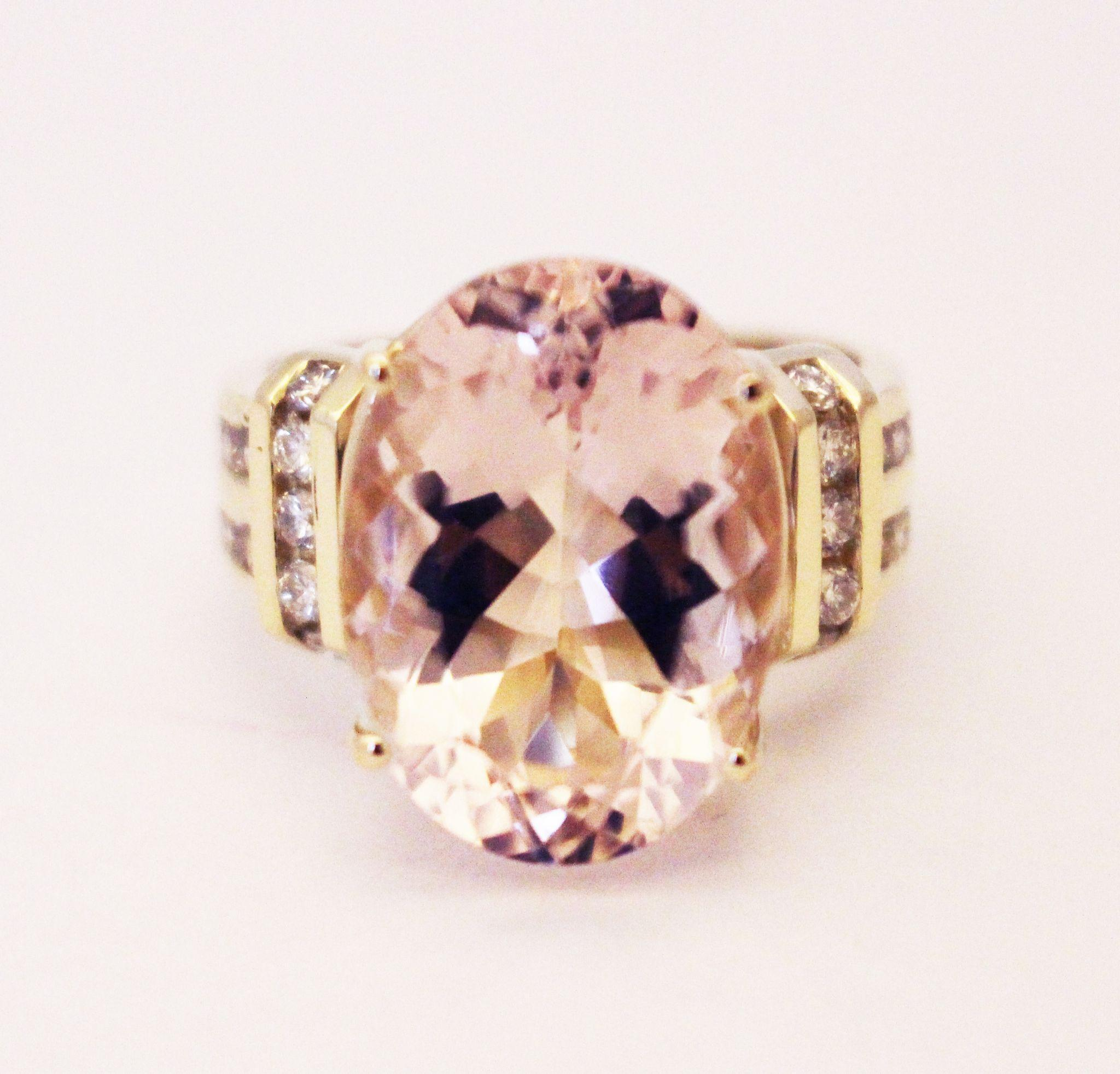 13 ct natural morganite diamonds ring 14kt yellow gold from samantha cham nyc on ruby lane. Black Bedroom Furniture Sets. Home Design Ideas