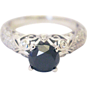 2.5 CT Natural Black and White Diamond Engagement Ring in 14KT White Gold