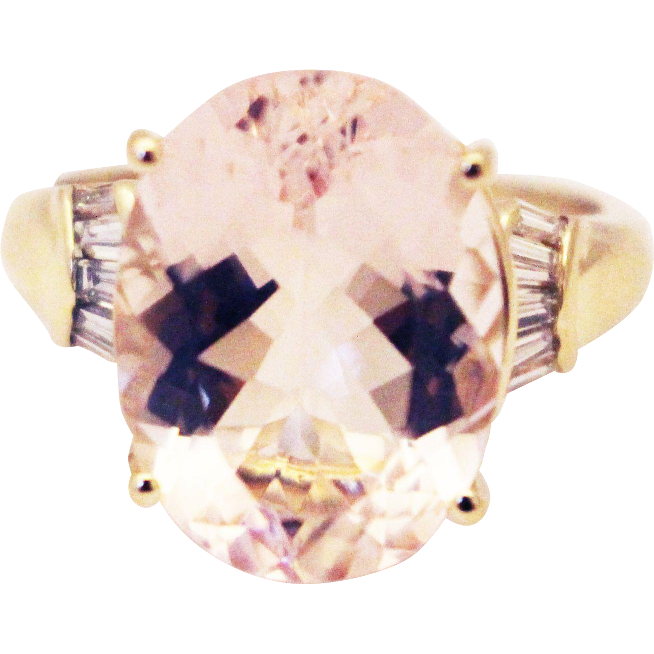10 ct natural morganite diamonds ring 14kt yellow gold from samantha cham nyc on ruby lane. Black Bedroom Furniture Sets. Home Design Ideas