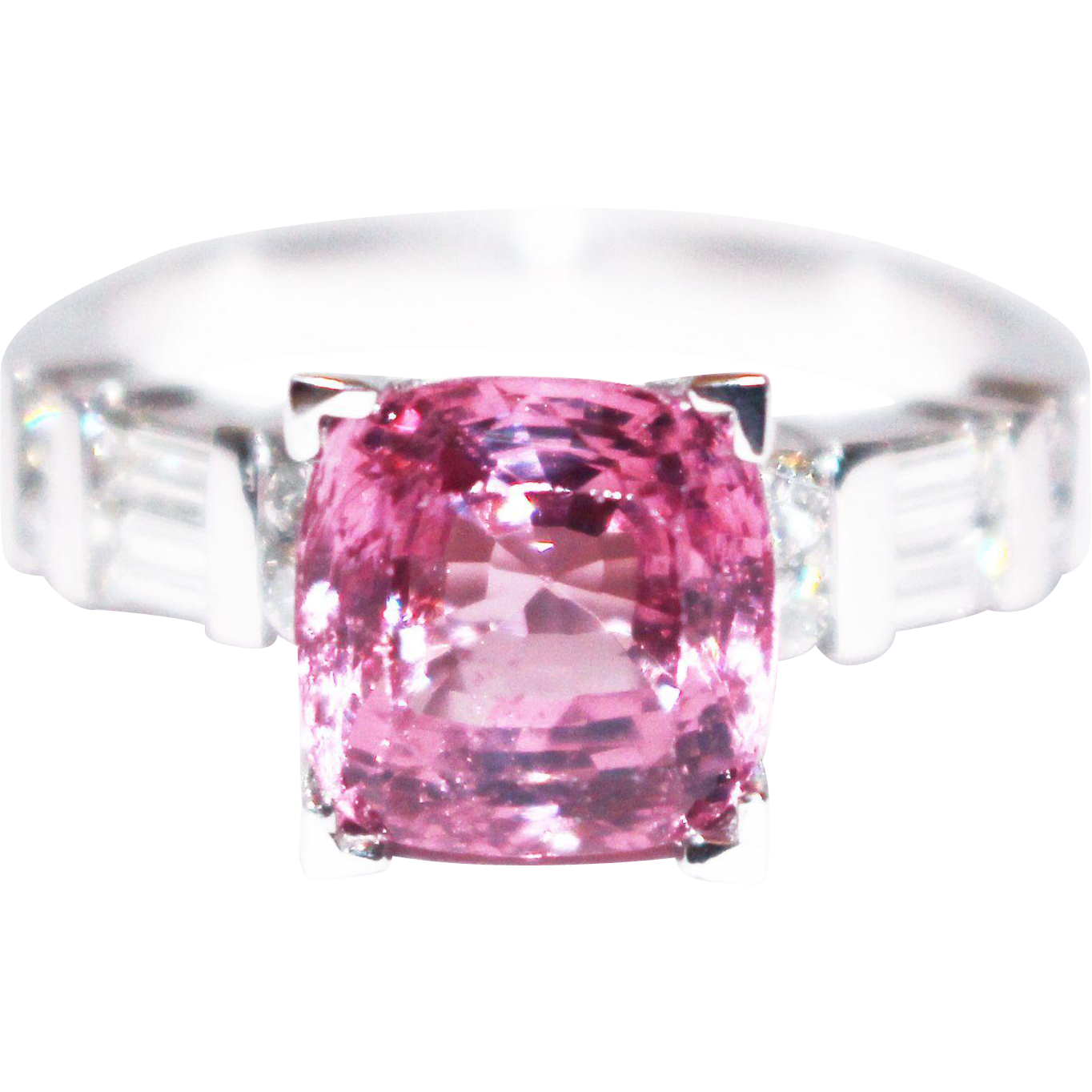 Platinum 4 5 Ct Natural Pink Spinel And Diamond Ring From