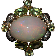 5.5CT Natural Ethiopian Opal, Peridot and Diamond Ring in 14KT
