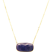 11 CT Natural Tanzanite Necklace 14KT Yellow Gold