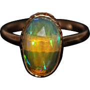 SALE Natural Ethiopian Opal Ring in 14KT