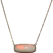 14kt Gold 23CT Natural Ethiopian Opal Handmade Bezel Set Necklace