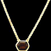 14kt Gold 5CT Natural Honey Hexagon Tourmaline Handmade Bezel Set Necklace