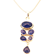 Handmade Natural Tanzanite Necklace in Sterling Silver