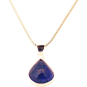 Handmade Natural Tanzanite Pear Shape Necklace in Sterling Silver