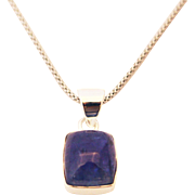 Handmade Natural Tanzanite Emerald Shape Necklace in Sterling Silver