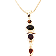 Handmade Natural Watermelon and Rubellite Pink Tourmaline  Necklace in Sterling Silver