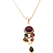 Handmade Natural Watermelon Rubellite Pink Tourmaline Necklace in Sterling Silver