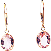 4CT Natural Pink Morganite Earrings Hand Bezel Set in 18KT Gold