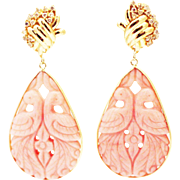 62 CT Handmade Rare Natural Hand Carved Love Bird Pink Opal and Diamonds in 14KT Gold earrings