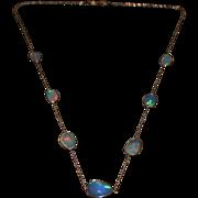 14kt Gold 10CT Natural Ethiopian Opal Rosecut Slice Handmade Bezel Set Necklace