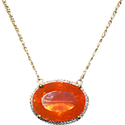 18kt Gold 30CT Natural Mexican Fire Opal and Diamond Handmade Necklace