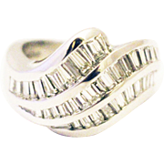 3.5 CT Bold Elegant Modern Natural Diamond Cocktail Band Ring in 18KT White Gold