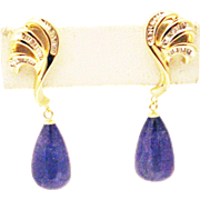 Natural Tanzanite and Diamonds Drop Earrings 14KT Yellow Gold