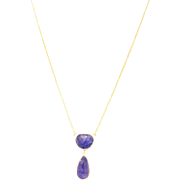 Natural Tanzanite Rose Cut Necklace in 14KT Yellow Gold