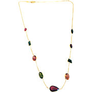 20CT Natural Rubellite and Watermelon Tourmaline Bezel Set 14KT Gold  Necklace