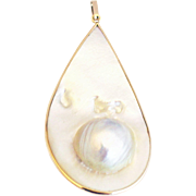 Cultured Blister Pearl Pendant 14KT Gold