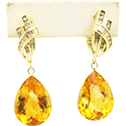 31CT Natural Citrine with Diamonds Earrings 14KT Gold - Red Tag Sale Item