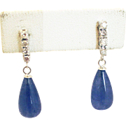 Natural Tanzanite and Diamonds Drop Earrings 14KT White Gold