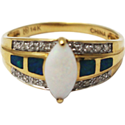 2CT Most Beautiful Natural Opal Diamond Ring 14KT Yellow Gold Ring