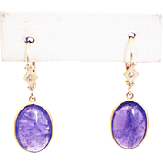 Natural Tanzanite and Diamonds Earrings 14KT Yellow Gold