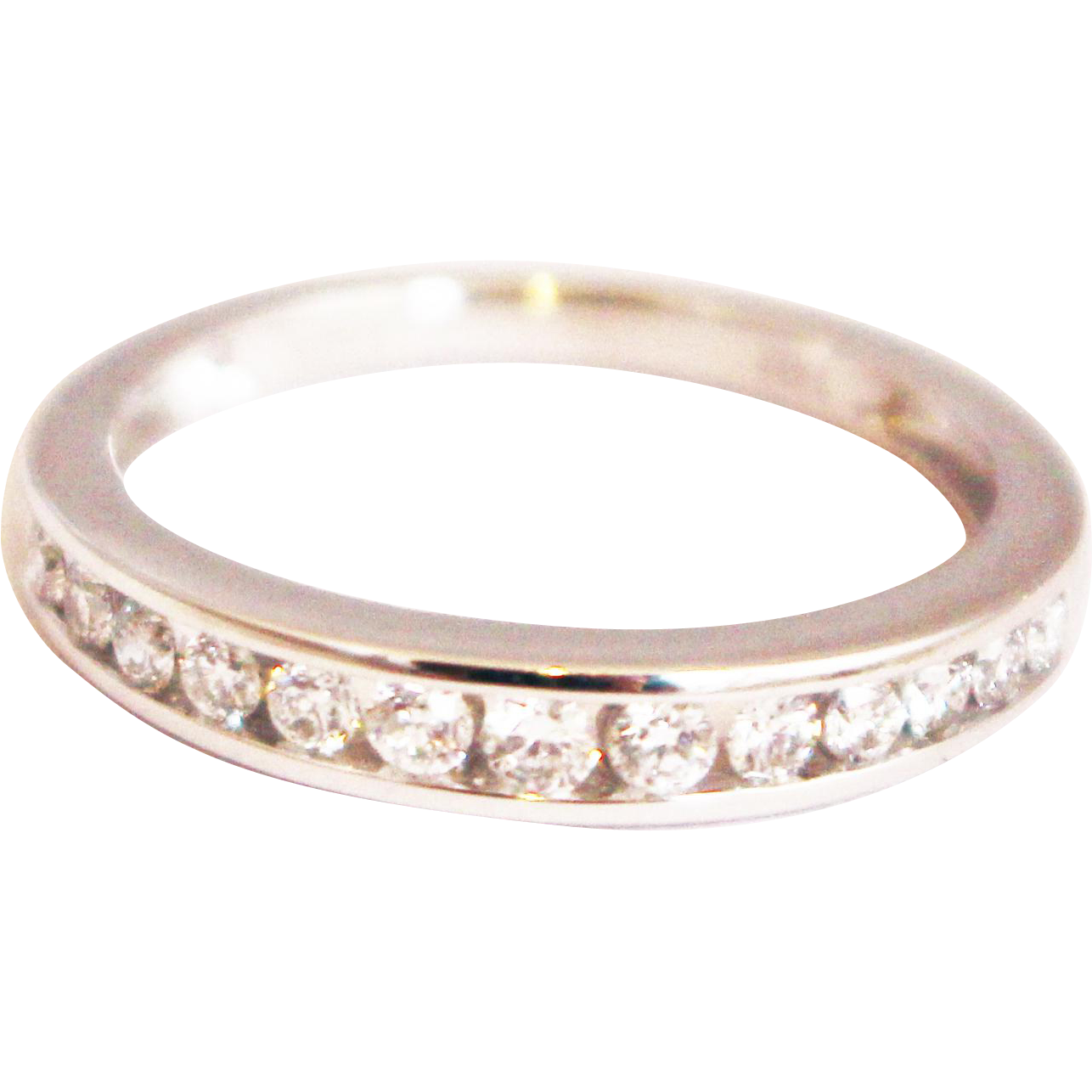 Modern Diamond Wedding Band Or Stackable Ring In 14KT White Gold From Samanth