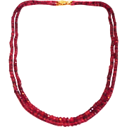 110 CT Double Stranded Natural Rubellite Pink Tourmaline Necklace Diamond 14KT Gold