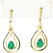 Natural Colombian Emeralds and Diamonds Earrings 14KT Yellow Gold