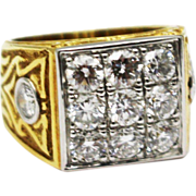 Platinum and 18KT Yellow Gold 1.5 CT Natural Diamond Custom made Men's Ring